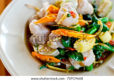 Spicy fish ball fried with vegetables , Asian style food , Thailand