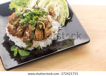 Spicy Fried Pork with Rice ,Thai food