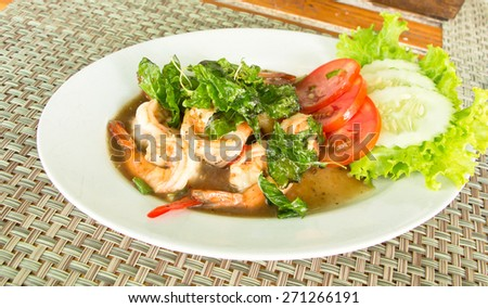 Spicy fried shrimp with basil,thai food - stock photo