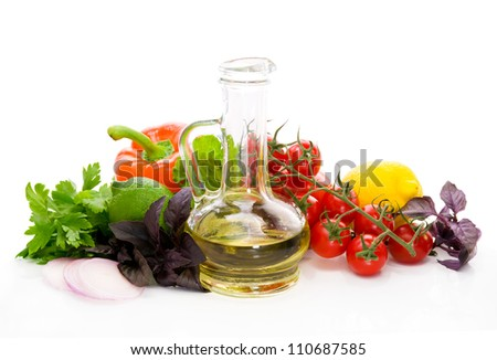 Spicy herbs, sweet pepper, tomatoes and olive oil - stock photo