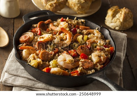 Spicy Homemade Cajun Jambalaya with Sausage and Shrimp - stock photo