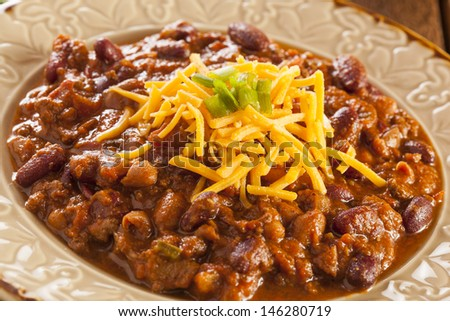 Spicy Homemade Chili Con Carne Soup in a Bowl - stock photo