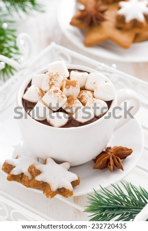 spicy hot chocolate with marshmallows in a cup, vertical, close-up - stock photo