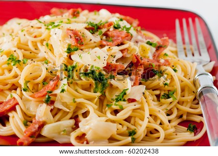 Spicy Italian style pepperoncino pasta with sausage. - stock photo