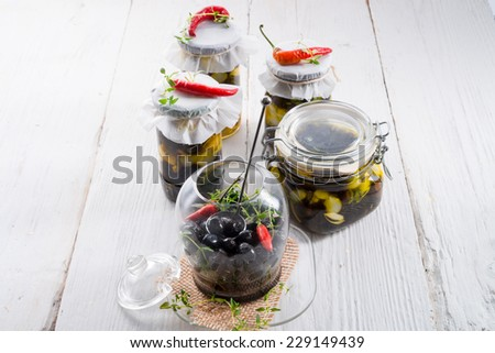 spicy marinated olives - stock photo