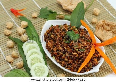 Spicy minced mushroom , tofu , soy protein  is vegetarian food. - stock photo