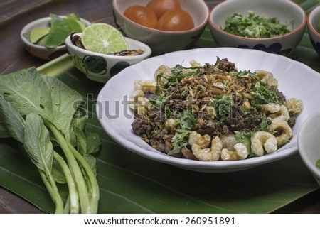 spicy minced pork or spicy minced pork salad Thai dishes  - stock photo
