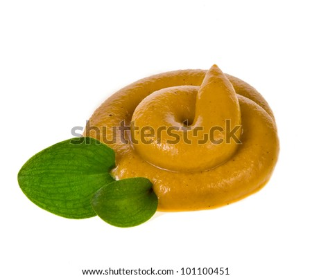 Spicy mustard isolated on white background - stock photo