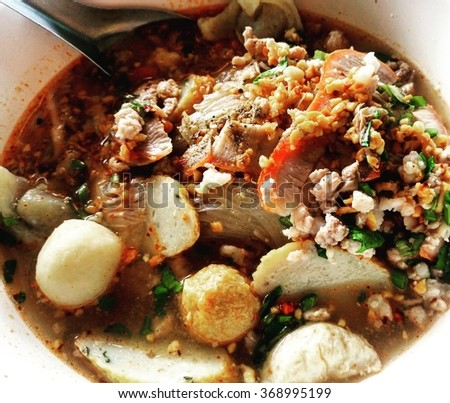 Spicy noodle at thai food - stock photo