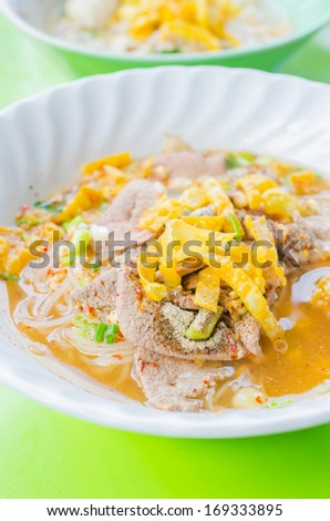 Spicy noodles Thai style (Street food from Thailand) - stock photo