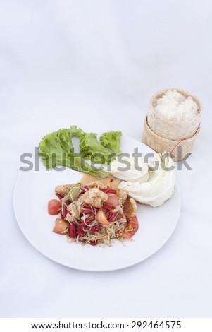 Spicy papaya salad - stock photo