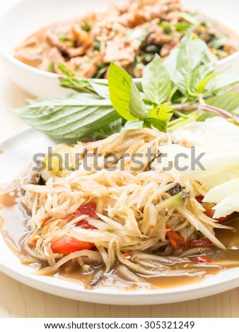 Spicy papaya salad, popular dish in Thailand