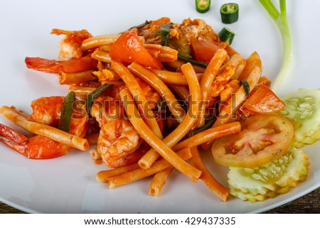 Spicy Pasta with seafood with herbs and spices