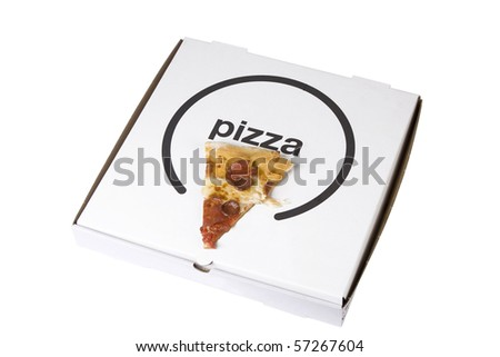 spicy pizza on cardboard box on white background - stock photo