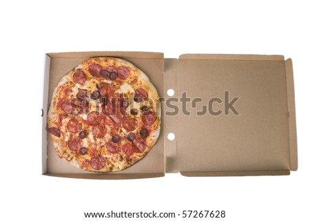 spicy pizza on cardboard box with white background