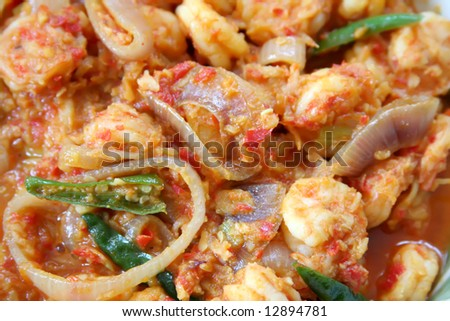 Spicy prawn dish traditional tropical asian cuisine