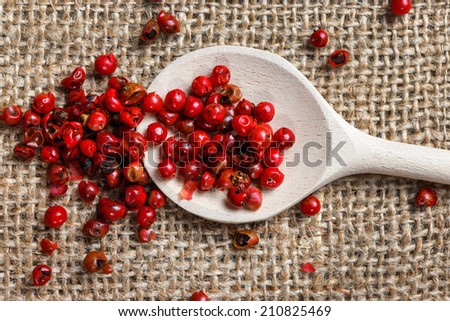 Spicy Red Pepper on wooden spoon - stock photo