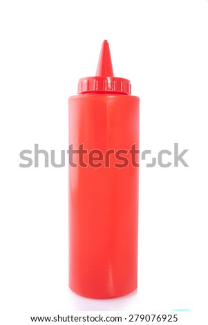 Spicy red sauce in a bottle isolated on white - stock photo