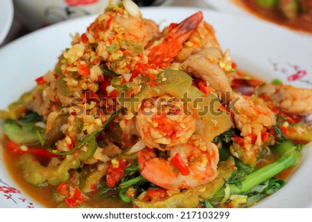 Spicy salad and shrimp - asia food - stock photo