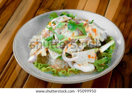 Spicy Salad of Boiled Pork Sausage , Thai style food