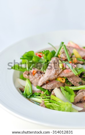 Spicy salad of roasted beef , Thai style cuisine
