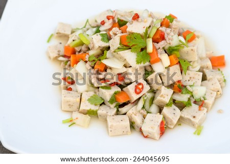 Spicy salad with pork close up - stock photo
