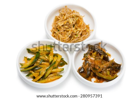 Spicy salads heh of of cucumber, soy sprouts and of eggplant and sweet pepper.  From a series of Food Korean cuisine. - stock photo