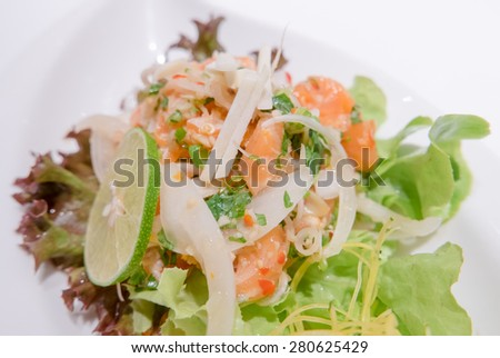 Spicy salmon salad with mixed vegetable - stock photo