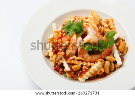 Spicy seafood salad with shrimps, Thai Food - stock photo