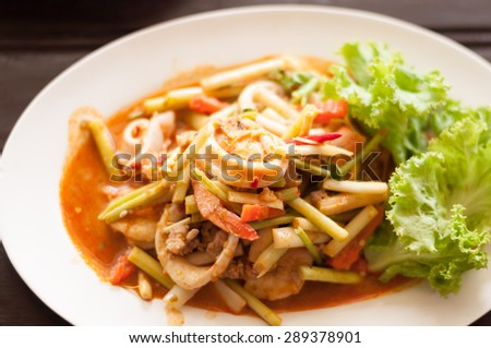 spicy seafood stir fried in Thai style