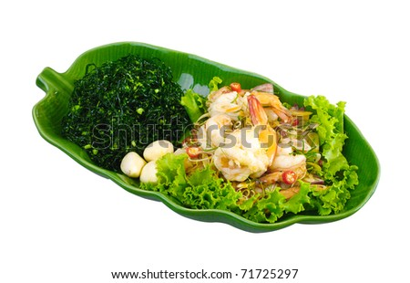 Spicy shrimps salad, a thai food menu isolated on white