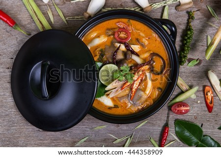 spicy soup traditional food cuisine in Thailand on wooden background (Vegetarian for good health )