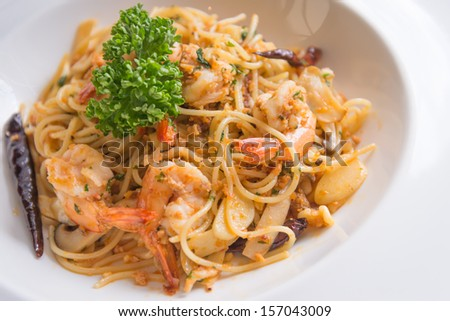 Spicy spaghetti shrimp red chilli
