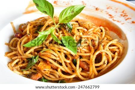 Spicy Spaghetti, Thai Style - stock photo