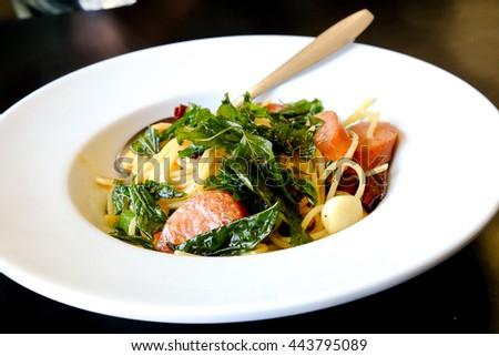spicy spaghetti . thai style stir-fried spicy spaghetti . - stock photo