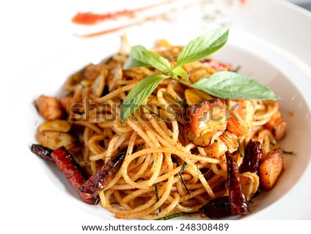 Spicy Spaghetti with Salmon