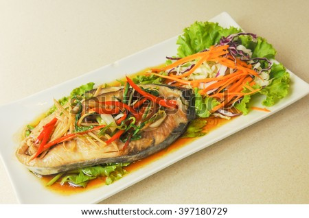 spicy steamed fish salad