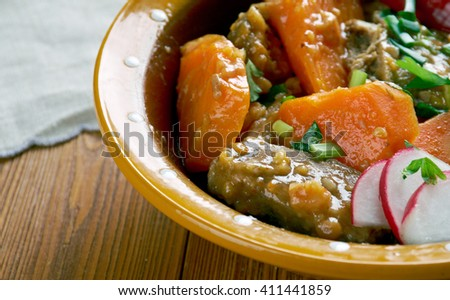 Spicy-sweet jerk caribbean beef stew close up