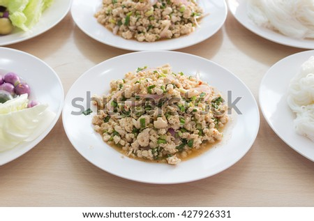 Spicy thai food. Thailand spicy food. Spicy larb. Larb thai food. Pork spicy food. Delicious spicy food. Asia food. Yum spicy. Popular thai food. Fresh thai food. Good taste thai food. Lunch thai food - stock photo