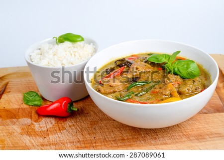 Spicy Thai Green Curry Chicken with Rice, Thai food
