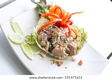 Spicy Tuna Salad with Lemongrass and Young Ginger , Thai Food