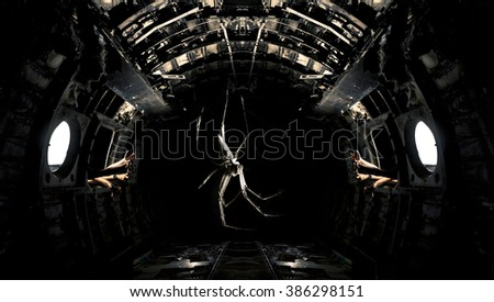 spider and ruined airplane - stock photo