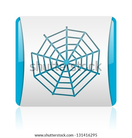 spider web blue and white square web glossy icon