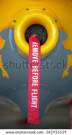 SPIELBERG, AUSTRIA - OCTOBER 25, 2014: A detail shot of Peter Besenyei's (Hungary) plane before the Red Bull Air Race. - stock photo