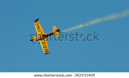 SPIELBERG, AUSTRIA - OCTOBER 25, 2014: Nigel Lamb (Great Britain) competes in the Red Bull Air Race. - stock photo