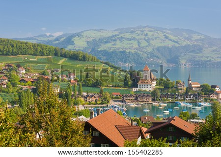 Spiez in a september day under the blue sky