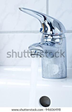 Spigot hot water - stock photo