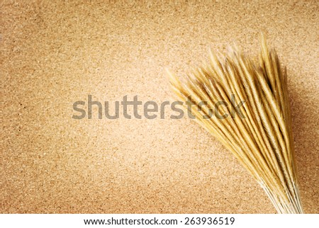Spike rice over Wood Background - stock photo