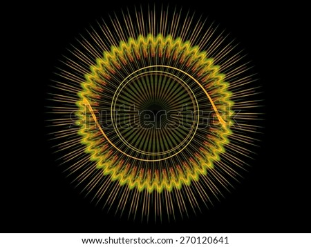 Spiked linear circle pattern abstract fractal background - stock photo