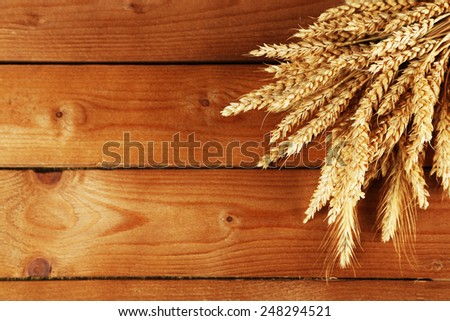 Spikelets of wheat on wooden background - stock photo
